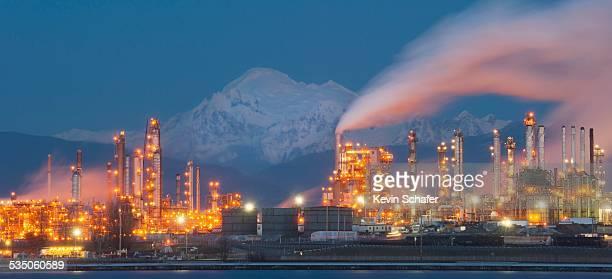 Tesoro Oil Refinery Fidalgo Bay Washington State USA Mt Baker behind January 20 2015