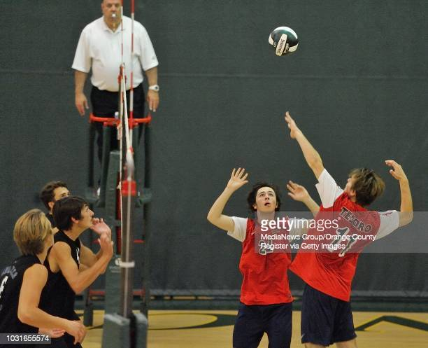 Tesoro's Colin Jindra sets up a shot for Drew Holcombe against Dana Hills during their OC Tournament Division 1 pool play match at Edison High School...