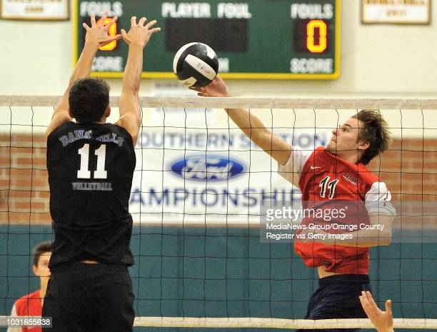 Tesoro's Drew Holcombe blocks a shot from Dana Hills' Grant Marocchi during their OC Tournament Division 1 pool play match at Edison High School in...