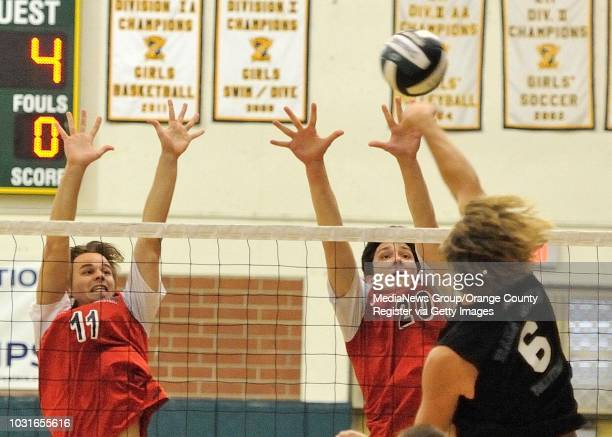 Tesoro's Drew Holcombe left and Cody McLaughlin try to block a shot from Dana Hills' Mark Stapley during their OC Tournament Division 1 pool play...