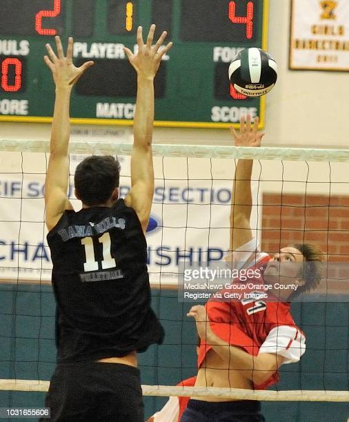 Tesoro's Drew Holcombe takes a shot against Dana Hills' Grant Marocchi during their OC Tournament Division 1 pool play match at Edison High School in...