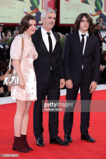 Tess Bu Cuaron Alfonso Cuaron and Olmo Teodoro Cuaron of the Netflix movie 'Roma' walk the red carpet ahead of the Award Ceremony during the 75th...