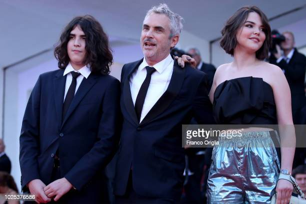 Tess Bu Cuaron Alfonso Cuaron and Olmo Teodoro Cuaron walks the red carpet ahead of the 'Roma' screening during the 75th Venice Film Festival at Sala...