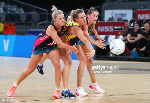 Tess Cransberg of the Western Sting is put under pressure by the Fury defense during the round four ANL match between the Fury and the Sting at...
