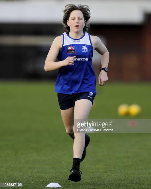 Tess Craven of the Kangaroos in action during the North Melbourne training session at Arden Street Oval on October 12, 2021 in Melbourne, Australia.