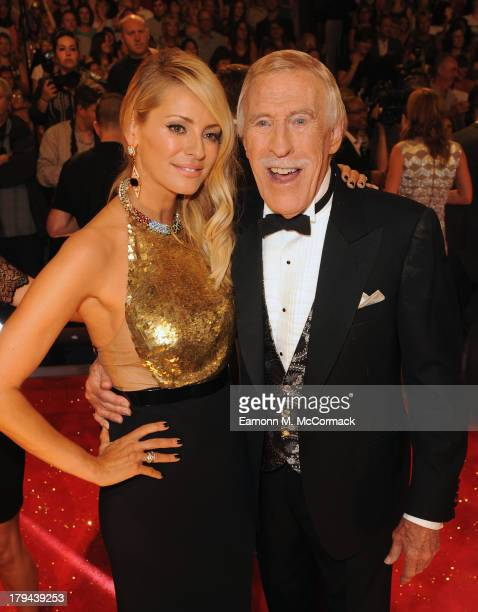 Tess Daly and Bruce Forsyth attends the red carpet launch for Strictly Come Dancing at Elstree Studios on September 3 2013 in Borehamwood England