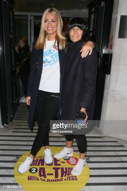 Tess Daly and Claudia Winkleman arriving at BBC Radio Two Studios for the start of their 24 hours Danceathon for Comic Relief March 11 2019 in London...