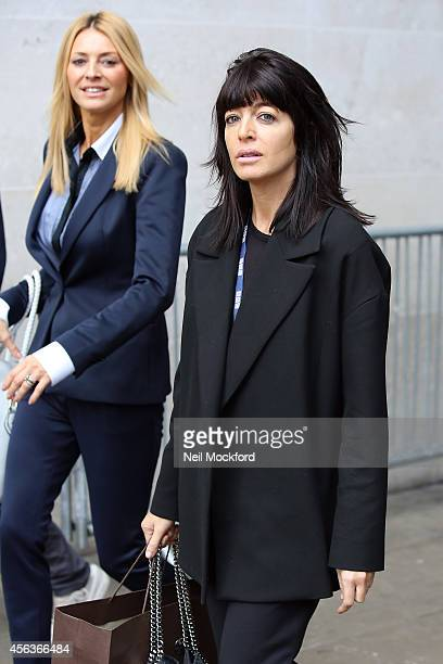 Tess Daly and Claudia Winkleman seen at BBC Radio One on September 30 2014 in London England