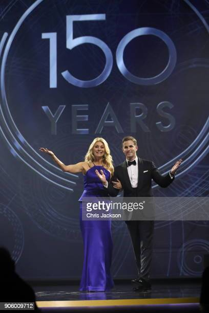 Tess Daly and IWC Schaffhausen CEO Christoph GraingerHerr on stage at the IWC Schaffhausen Gala celebrating the Maison's 150th anniversary and the...