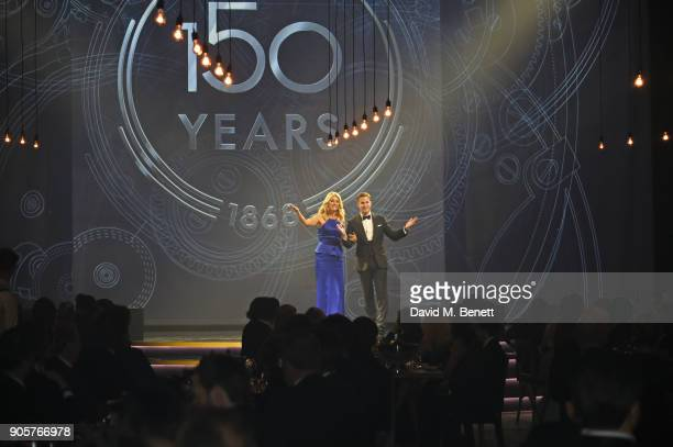 Tess Daly and IWC Schaffhausen CEO Christoph GraingerHerr speak at the IWC Schaffhausen Gala celebrating the Maison's 150th anniversary and the...
