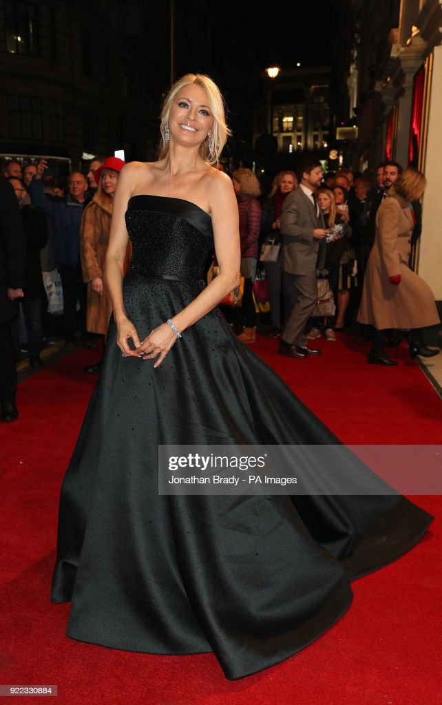 Tess Daly arrive arrives at the BBC event Bruce: A Celebration at the London Palladium, which will honour the life of the late entertainer Sir Bruce Forsyth.