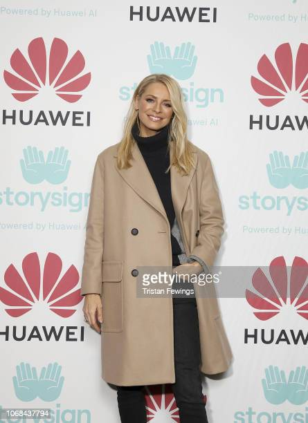 Tess Daly attends Winterland London for the launch of Huawei's StorySign App with the British Deaf Association on December 4 2018 in London England