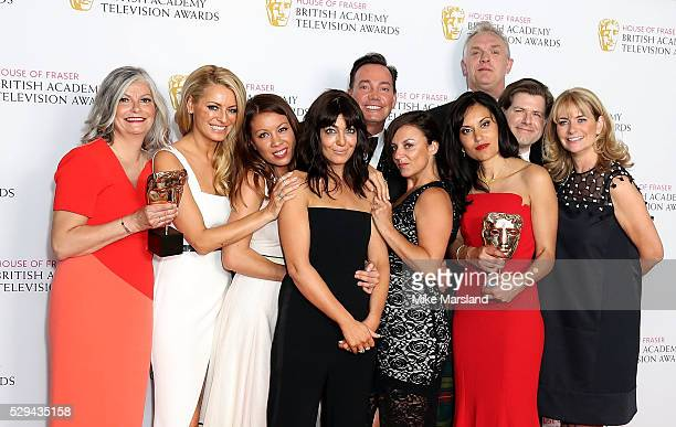 Tess Daly Claudia Winkleman Craig Revel Horwood and Greg Davies with crew from Strictly Come Dancing winner of Best Entertainment Programme pose in...
