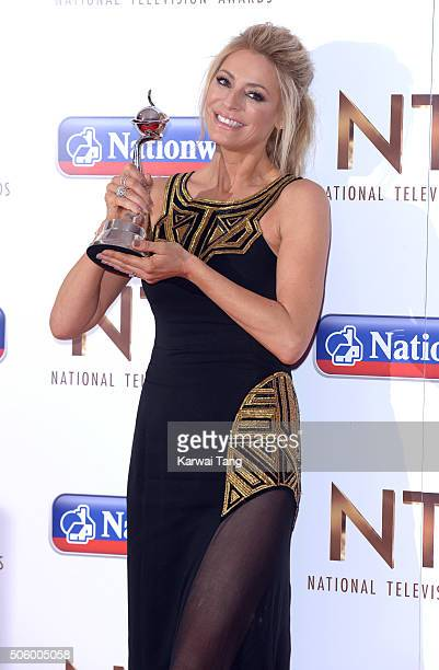 Tess Daly poses with the award for Best Talent Show for 'Strictly Come Dancing' at the 21st National Television Awards at The O2 Arena on January 20...