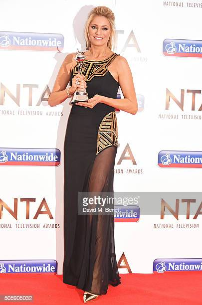 Tess Daly poses with the Talent Show award for 'Strictly Come Dancing' at the 21st National Television Awards at The O2 Arena on January 20 2016 in...