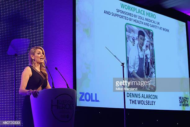 Tess Daly speaks on stage at the starstudded St John Ambulance Everyday Heroes celebration of the nation's life savers at the Royal Lancaster Hotel...