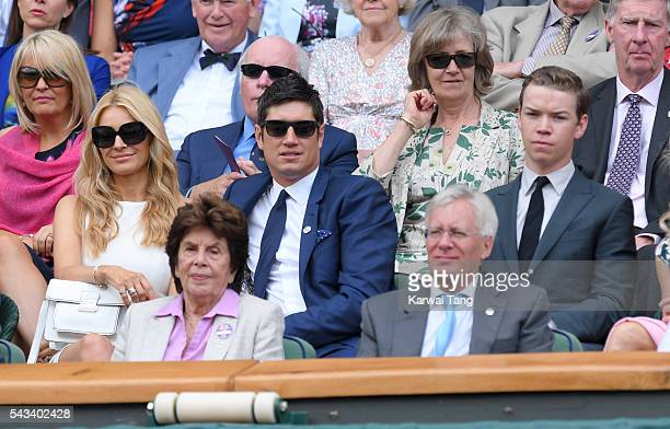 Tess Daly Vernon Kay and Will Poulter attend day two of the Wimbledon Tennis Championships at Wimbledon on June 28 2016 in London England