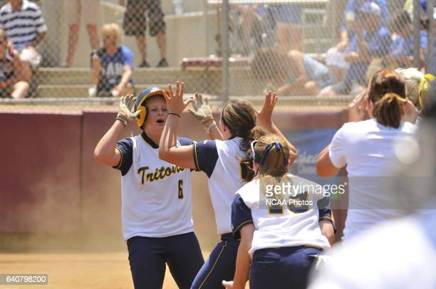 Tess Granath of the University of California San Diego celebrates with teammates against the University of Alabama-Huntsville during the Division II...