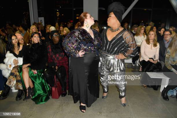 Tess Holiday and Patrick Starrr attend the Badgley Mischka front row during New York Fashion Week The Shows at Gallery I at Spring Studios on...