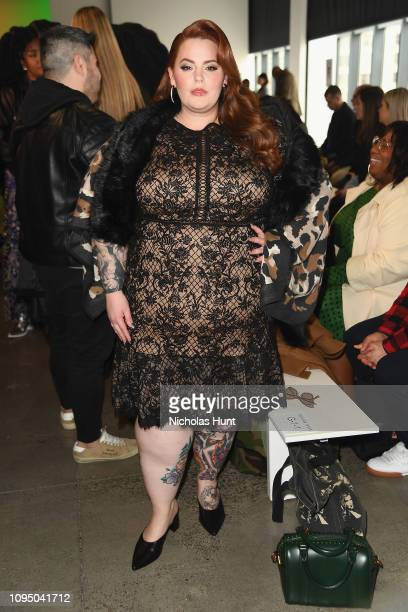 Tess Holliday attends the Tadashi Shoji FW'19 Fashion Show front row during New York Fashion Week: The Shows at Gallery I at Spring Studios on...