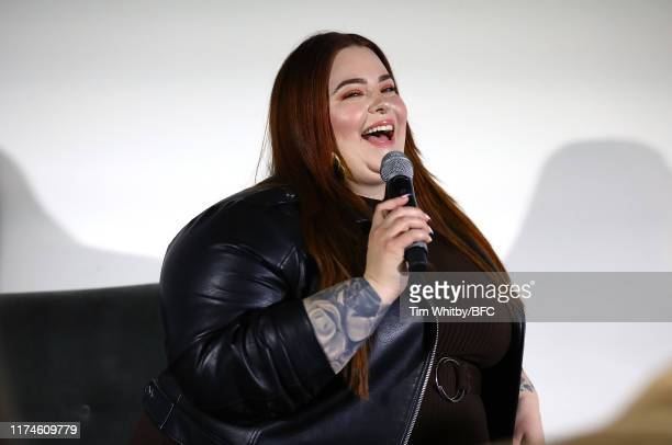 Tess Holliday during a talk on Body Positivity and the Changing Landscape in Modelling at London Fashion Week September 2019 at BFC Show Space on...