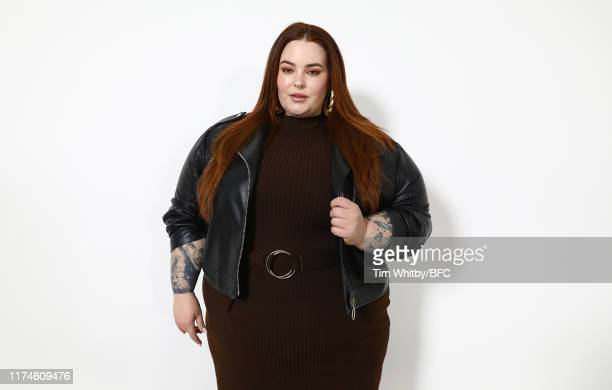 Tess Holliday poses for a photograph after a talk on Body Positivity and the Changing Landscape in Modelling at London Fashion Week September 2019 at...