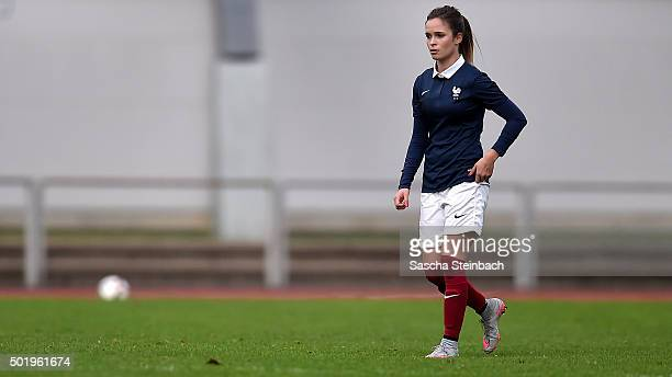 Tess Laplacette of France leaves the pitch after been sent off and booked red card during the U17 girl's international friendly match between France...