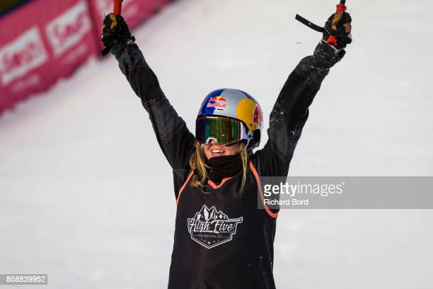 Tess Ledeux of France celebrates during the Sosh Big Air finals on October 7 2017 in Annecy France