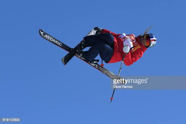 Tess Ledeux of France competes during the Freestyle Skiing Ladies' Ski Slopestyle qualification on day eight of the PyeongChang 2018 Winter Olympic...