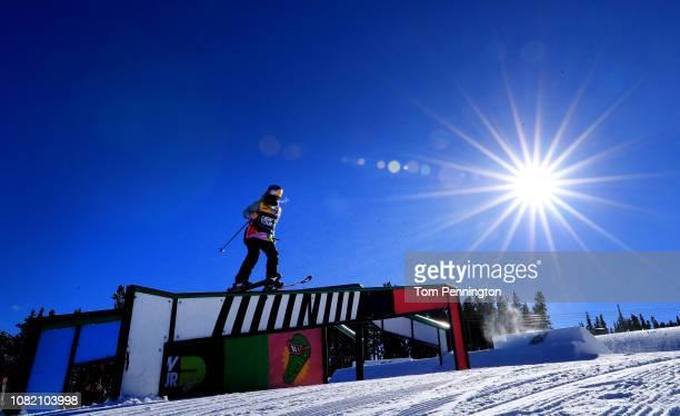 Tess Ledeux of France competes in Women's Ski Slopestyle Jib Section during Day 1 of the Dew Tour on December 13 2018 in Breckenridge Colorado