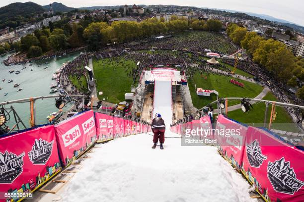 Tess Ledeux of France drops in the ski slope during the Sosh Big Air finals on October 7 2017 in Annecy France