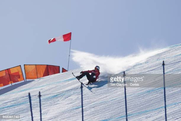 Tess Ledeux of France in action during the Freestyle Skiing Ladies' Ski Slopestyle Final at Phoenix Snow Park on February17 2018 in PyeongChang South...