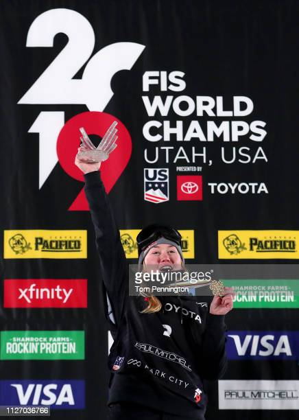 Tess Ledeux of France in first place celebrates on the podium in the Ladies' Ski Big Air Final at the FIS Freeski World Championships on February 02...