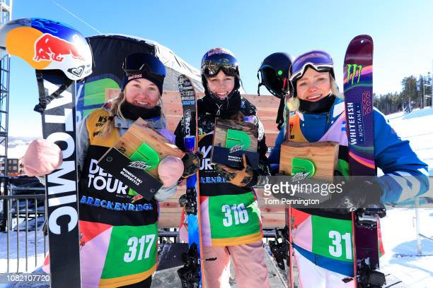 Tess Ledeux of France in second place Kelly Sildaru of Estonia in first place and Maggie Voisin of the United States in third place celebrate on the...