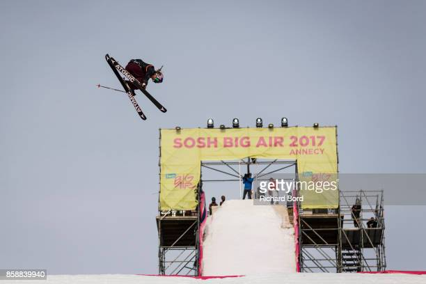 Tess Ledeux of France performs during the Sosh Big Air finals on October 7 2017 in Annecy France