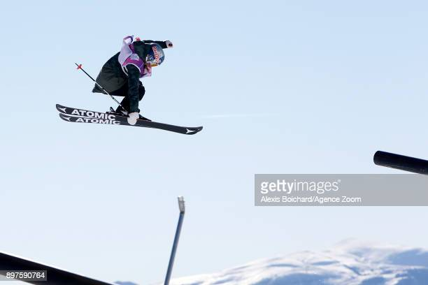 Tess Ledeux takes 1st place during the FIS Freestyle Ski World Cup Freestyle Slopestyle on December 23 2017 in Font Romeu France