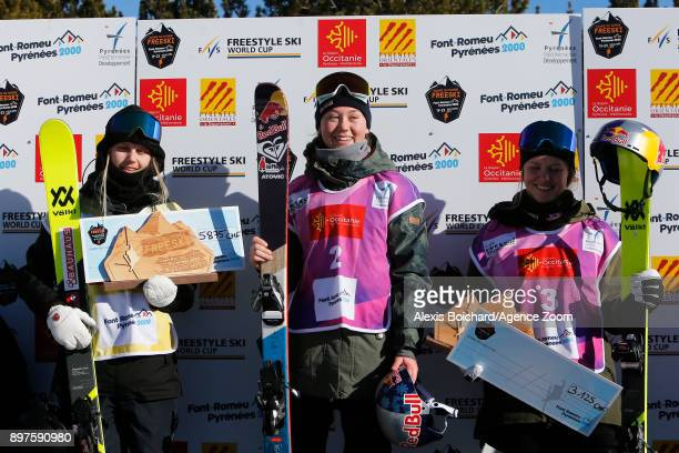 Tess Ledeux takes 1st place Jennielee Burmansson takes 2nd place Tiril Sjaastad Christiansen of Norway takes 3rd place during the FIS Freestyle Ski...