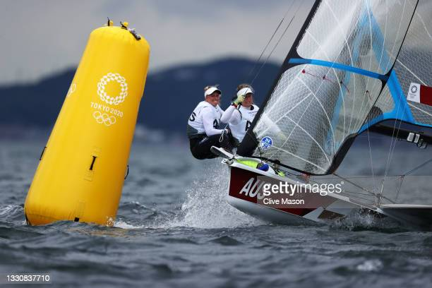 Tess Lloyd and Jaime Ryan of Team Australia compete during the Women's Skiff - 49er FX class race on day four of the Tokyo 2020 Olympic Games at...