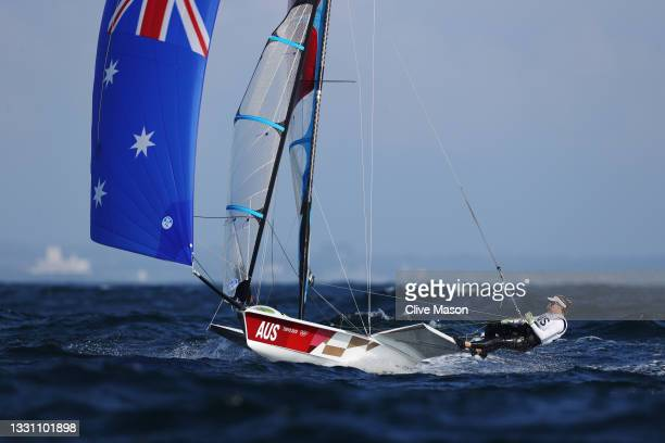 Tess Lloyd and Jaime Ryan of Team Australia compete in the Women's Skiff - 49er class on day five of the Tokyo 2020 Olympic Games at Enoshima Yacht...