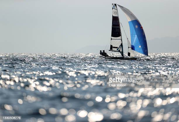 Tess Lloyd and Jaime Ryan of Team Australia put in some practice on day two of the Tokyo 2020 Olympic Games at Enoshima Yacht Harbour on July 25,...