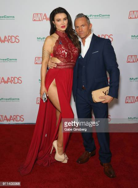 Tess O'Reilly and adult film actor director and writer Marcus London attend the 2018 Adult Video News Awards at the Hard Rock Hotel Casino on January...