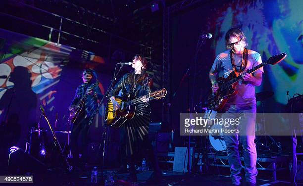Tess Parks and Anton Newcombe perform on stage during Day 1 of the Liverpool International Festival of Psychedelia at Camp Furnace on September 25...