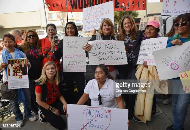 Tess Rafferty Lauren Sivan and Cathy Schulman pose at the Take Back The Workplace March on November 12 2017 in Hollywood California