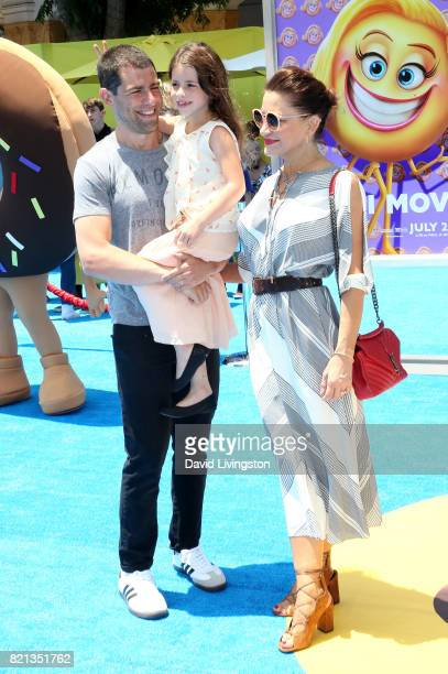 Tess Sanchez actor Max Greenfield and Lilly Greenfield attend the premiere of Columbia Pictures and Sony Pictures Animation's The Emoji Movie at...