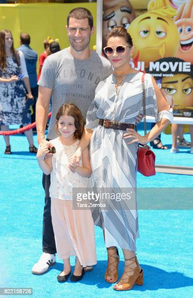 Tess Sanchez actor Max Greenfield and Lilly Greenfield attend the premiere of Columbia Pictures and Sony Pictures Animation's 'The Emoji Movie' at...