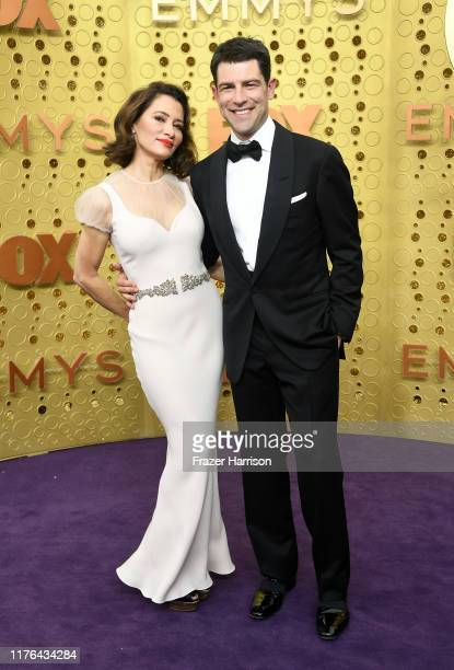 Tess Sanchez and Max Greenfield attend the 71st Emmy Awards at Microsoft Theater on September 22, 2019 in Los Angeles, California.