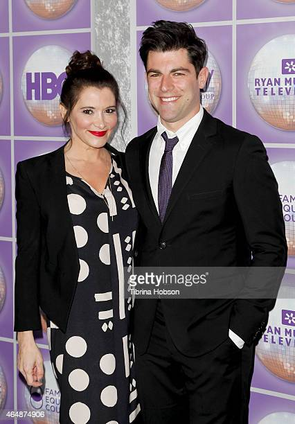 Tess Sanchez and Max Greenfield attend the Family Equality Council's Los Angeles awards dinner at The Beverly Hilton Hotel on February 28 2015 in...