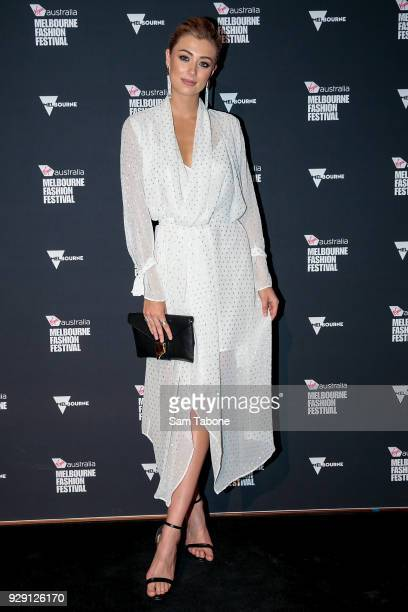 Tess Shanahan arrives ahead of the VAMFF 2018 Runway 5 presented by InStyle on March 8 2018 in Melbourne Australia