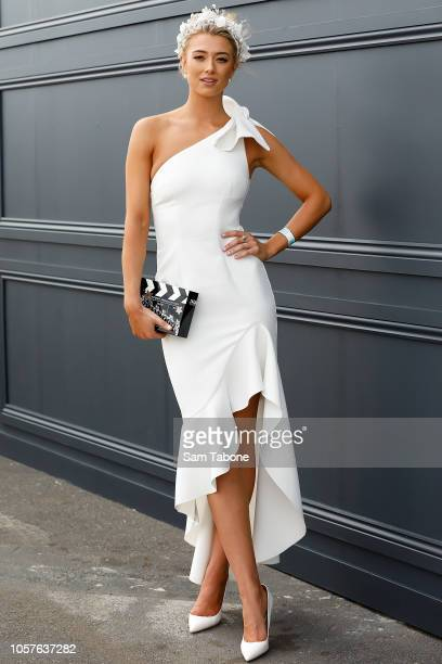 Tess Shanahan pose on Derby Day at Flemington Racecourse on November 3 2018 in Melbourne Australia