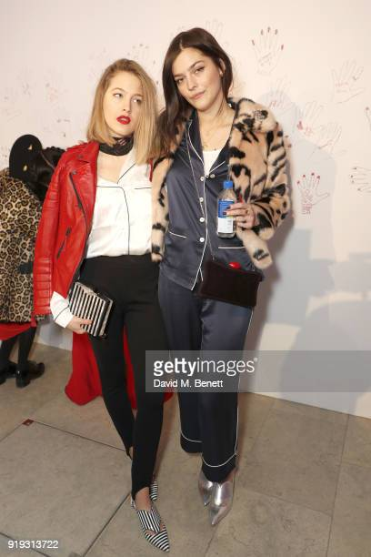 Tess Ward and Amber Anderson attend the Lulu Guinness AW18 London Fashion Week presentation on February 17 2018 in London England